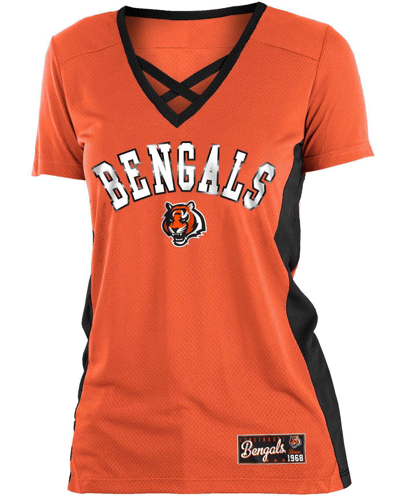 NFL Team Apparel Women's Cincinnati Bengals Mesh X Orange T-Shirt