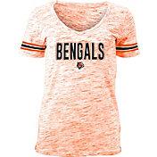 NFL Team Apparel Women's Cincinnati Bengals Orange Space Dye V-Neck T-Shirt