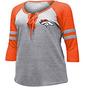 NFL Team Apparel Women's Denver Broncos Trilace Grey Raglan Shirt