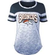 NFL Team Apparel Women's Denver Broncos Space Dye Glitter Navy T-Shirt