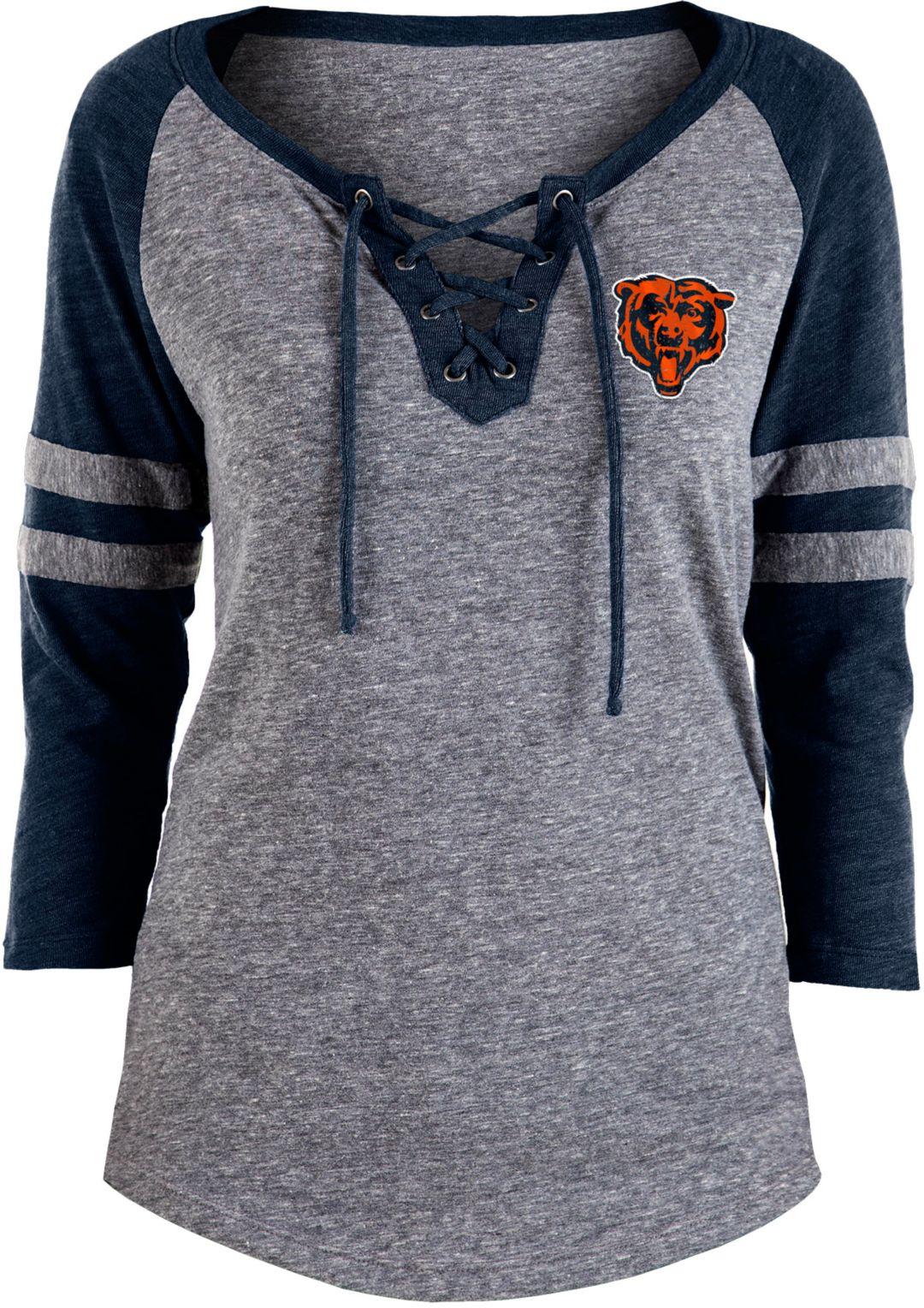 NFL Team Apparel Women's Chicago Bears Trilace Grey Raglan Shirt