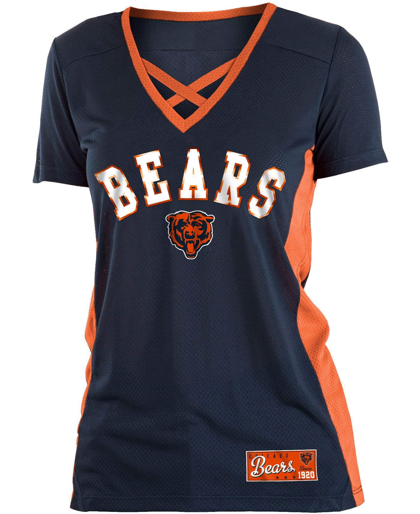 NFL Team Apparel Women's Chicago Bears Mesh X Navy T-Shirt