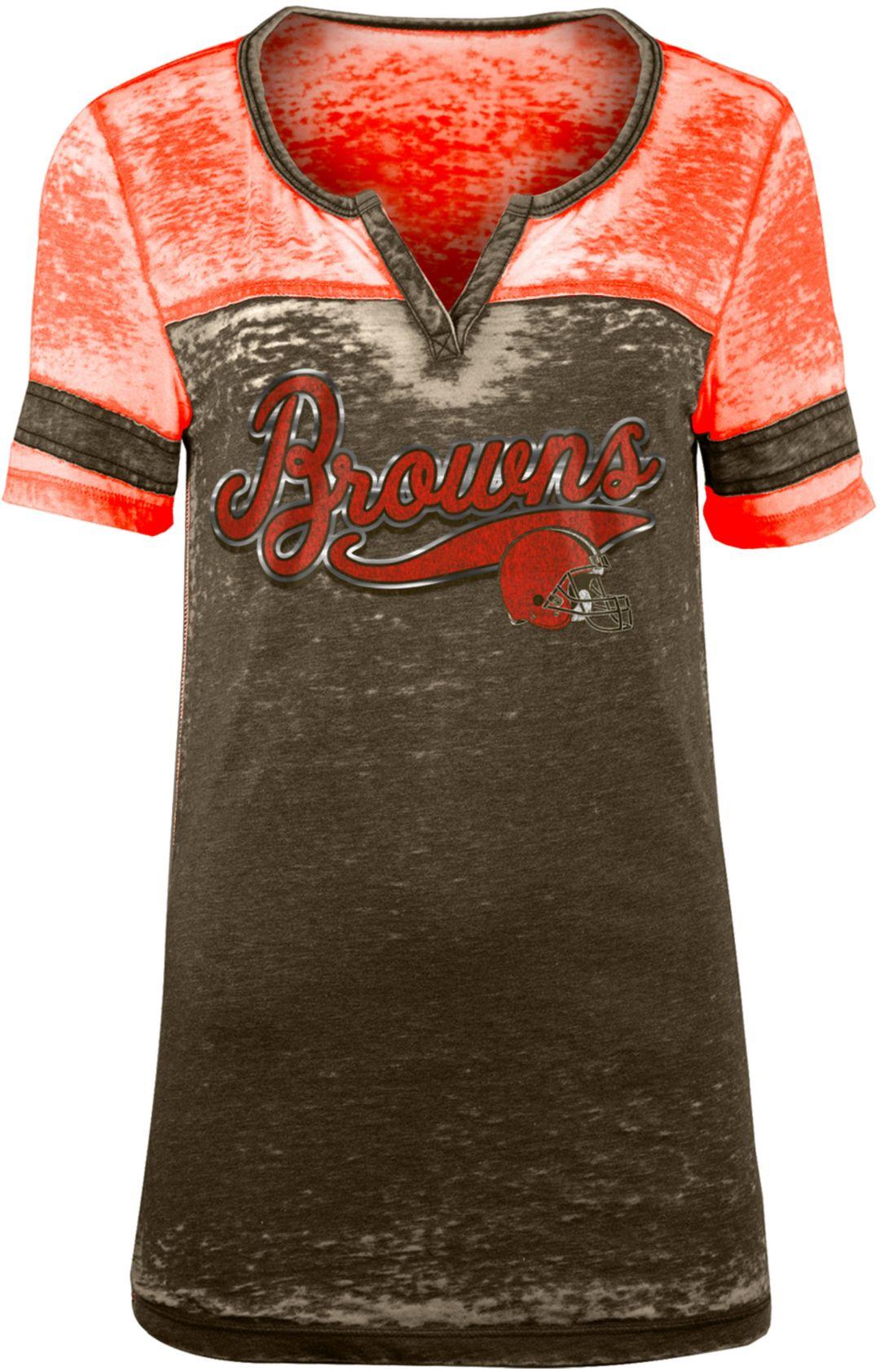 outlet store 8fe70 88b8f NFL Team Apparel Women's Cleveland Browns Foil Burnout Brown T-Shirt