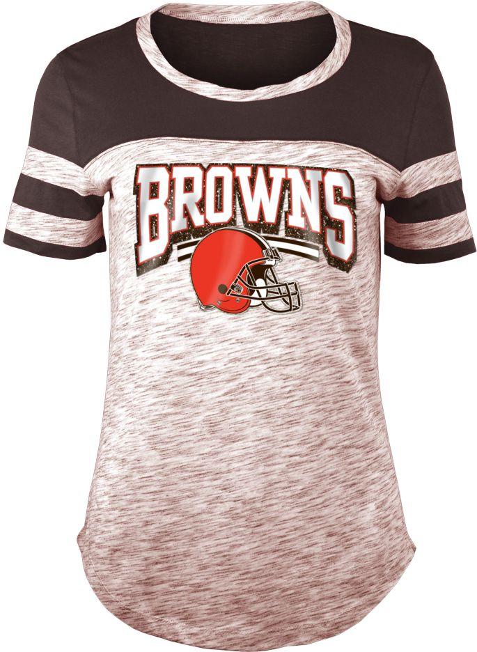 hot sale online 67971 e384c NFL Team Apparel Women's Cleveland Browns Space Dye Glitter Brown T-Shirt
