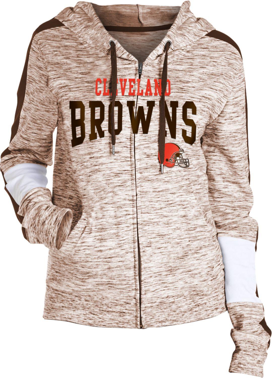 reputable site a7d24 1b0ba NFL Team Apparel Women's Cleveland Browns Space Dye Full-Zip Hoodie