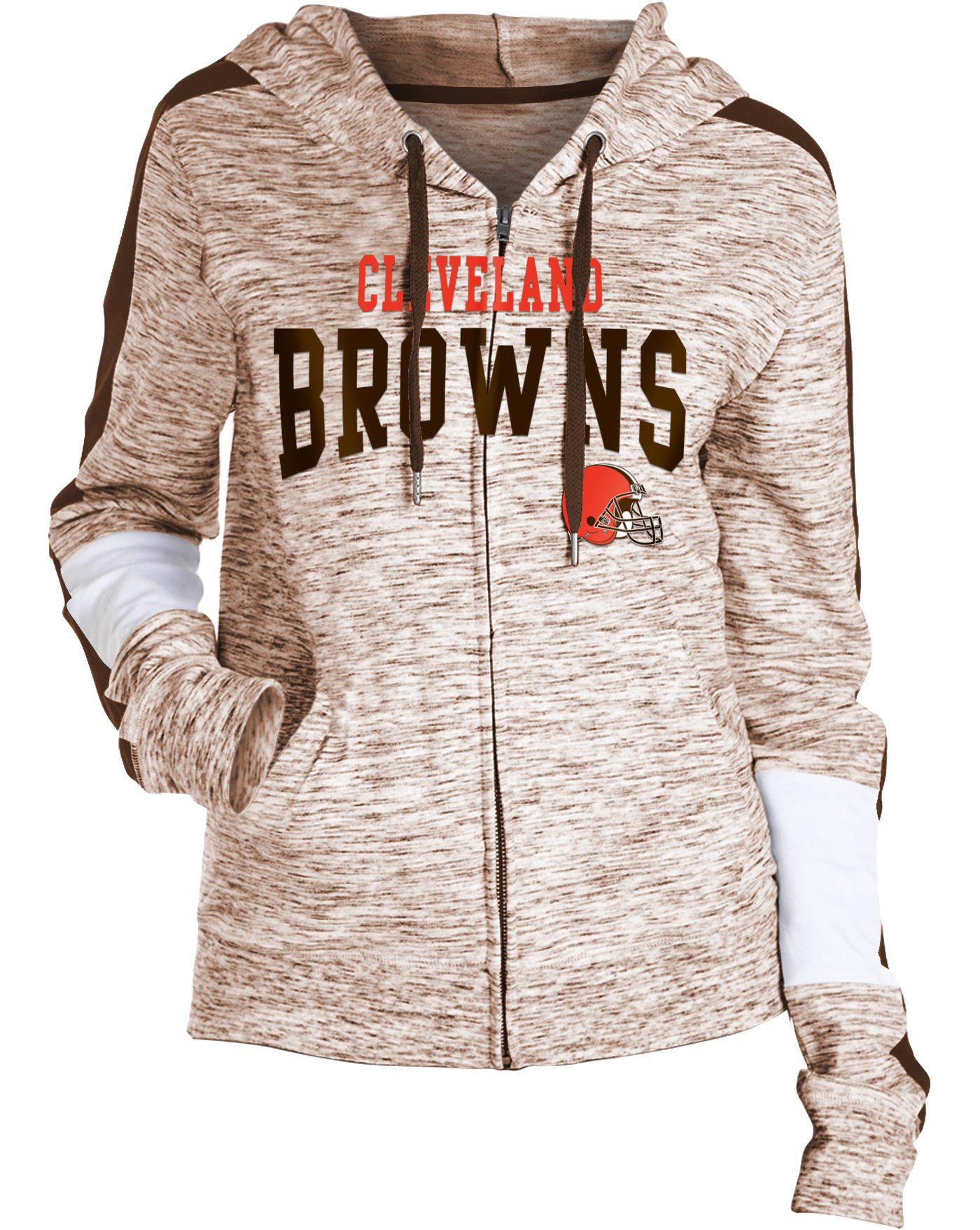 NFL Team Apparel Women's Cleveland Browns Space Dye Full-Zip Hoodie