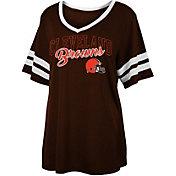 NFL Team Apparel Women's Cleveland Browns Slub Glitter T-Shirt