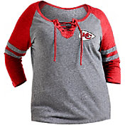 NFL Team Apparel Women's Kansas City Chiefs Trilace Grey Raglan Shirt