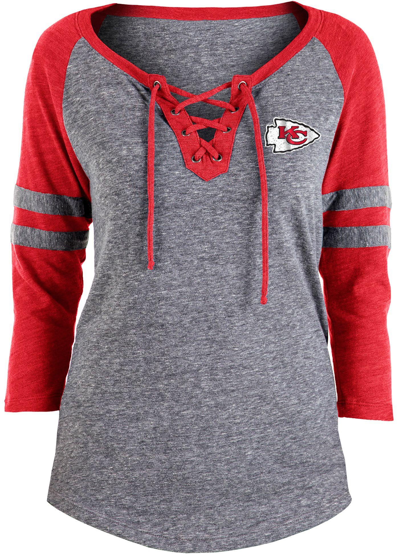 NFL Team Apparel Women's Kansas City Chiefs Trilace Grey Raglan Shirt