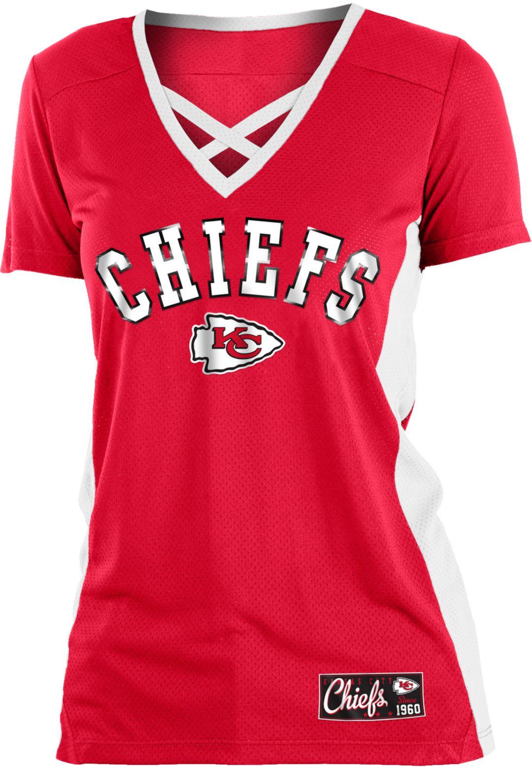 070cd2f0 NFL Team Apparel Women's Kansas City Chiefs Mesh X Red T-Shirt