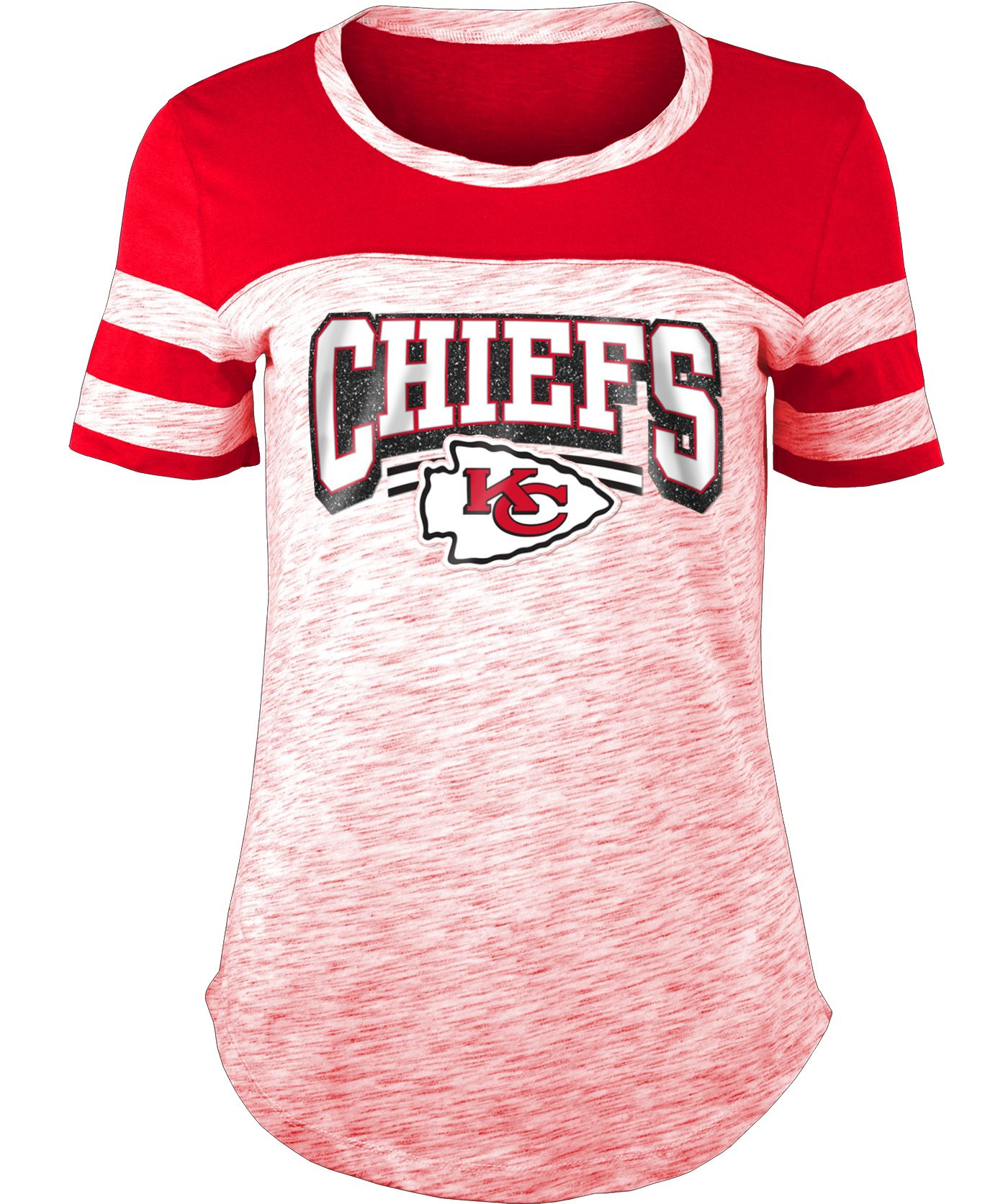 NFL Team Apparel Women's Kansas City Chiefs Space Dye Glitter Red T-Shirt