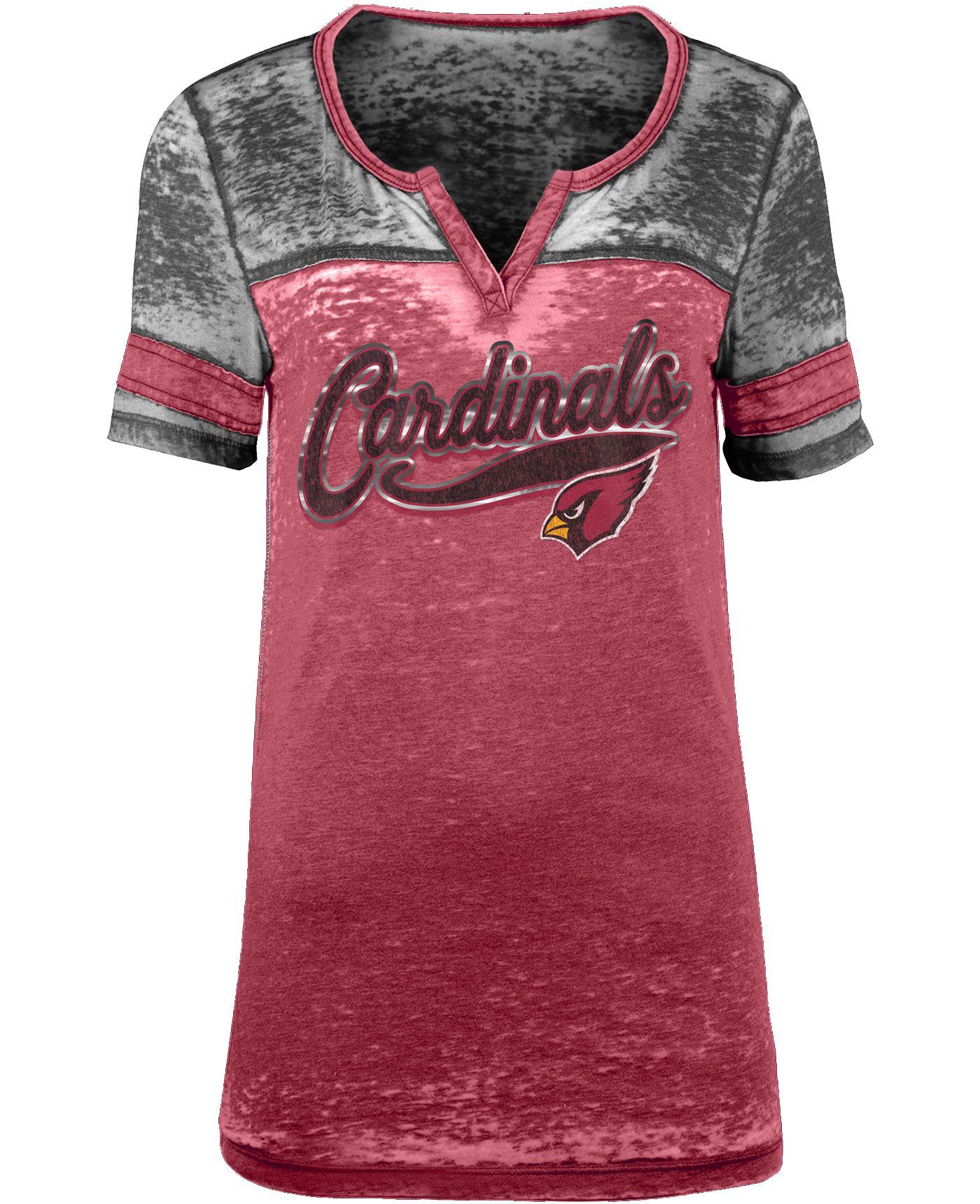 NFL Team Apparel Women's Arizona Cardinals Foil Burnout Red T-Shirt