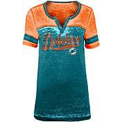 NFL Team Apparel Women's Miami Dolphins Foil Burnout Aqua T-Shirt
