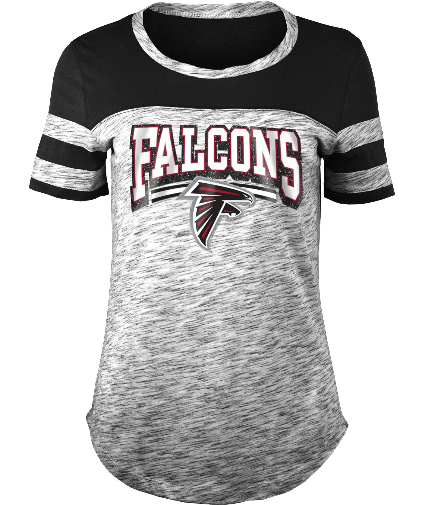 NFL Team Apparel Women's Atlanta Falcons Space Dye Glitter Black T-Shirt
