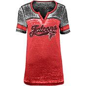NFL Team Apparel Women's Atlanta Falcons Foil Burnout Red T-Shirt