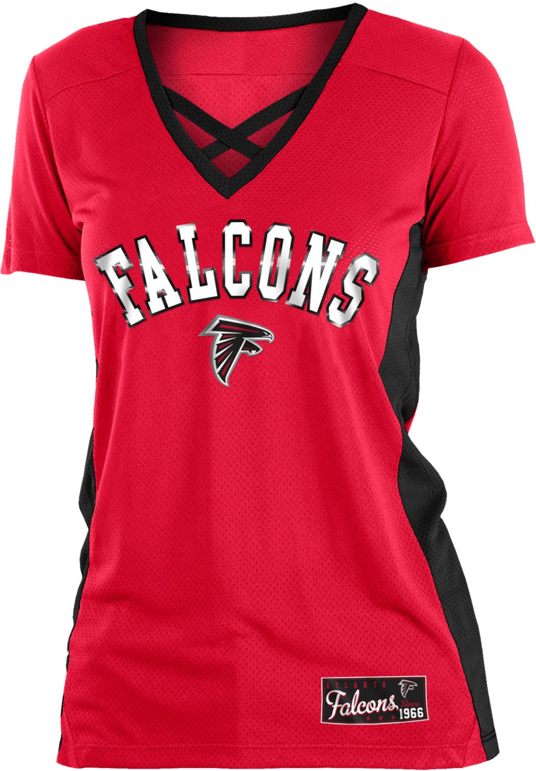 newest 362a9 b680f NFL Team Apparel Women's Atlanta Falcons Mesh X Red T-Shirt
