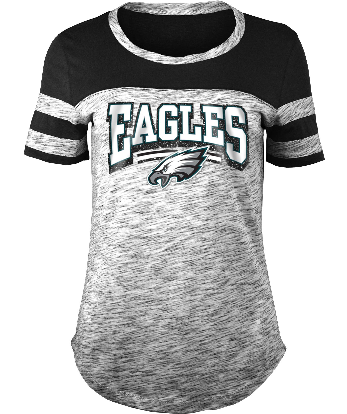 NFL Team Apparel Women's Philadelphia Eagles Space Dye Glitter Black T-Shirt