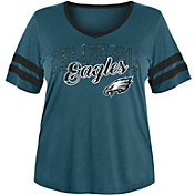NFL Team Apparel Women's Philadelphia Eagles Slub Glitter T-Shirt