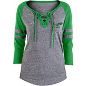 NFL Team Apparel Women's Philadelphia Eagles Trilace Grey Raglan Shirt