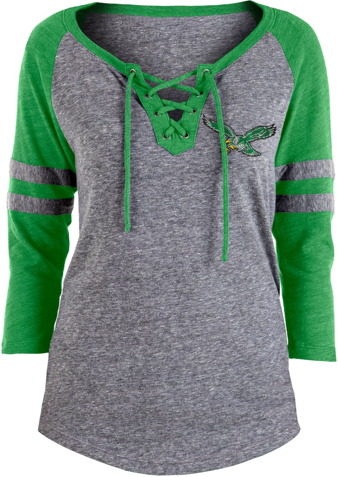 online retailer 7c58d 0b03a NFL Team Apparel Women's Philadelphia Eagles Trilace Grey Raglan Shirt