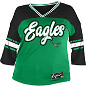 NFL Team Apparel Women's Philadelphia Eagles Mesh Raglan Top