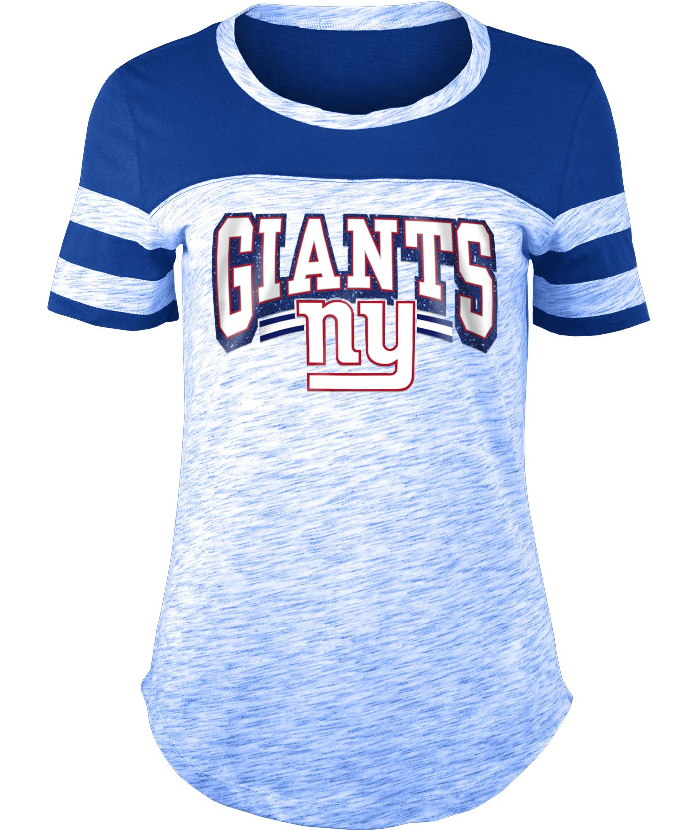 NFL Team Apparel Women's New York Giants Space Dye Glitter Royal T-Shirt