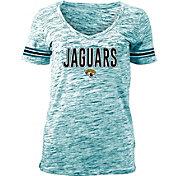 NFL Team Apparel Women's Jacksonville Jaguars Teal Space Dye V-Neck T-Shirt