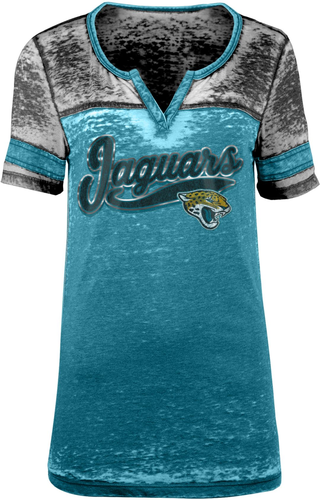 best website 8cf12 e3d79 NFL Team Apparel Women's Jacksonville Jaguars Foil Burnout Teal T-Shirt