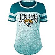NFL Team Apparel Women's Jacksonville Jaguars Space Dye Glitter Teal T-Shirt