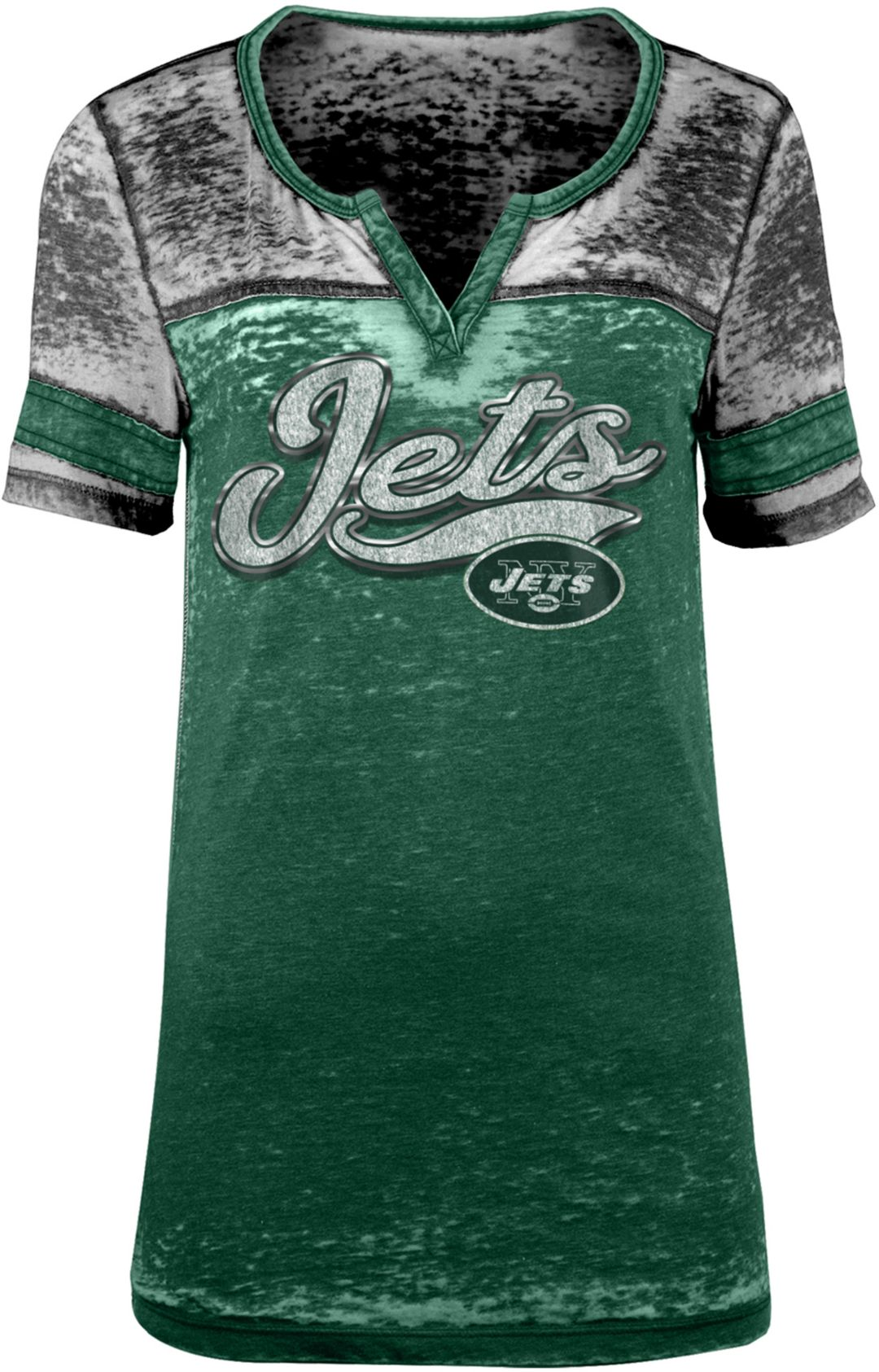 big sale 73b73 b27b0 NFL Team Apparel Women's New York Jets Foil Burnout Green T-Shirt