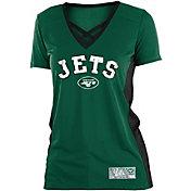 NFL Team Apparel Women's New York Jets Mesh X Green T-Shirt