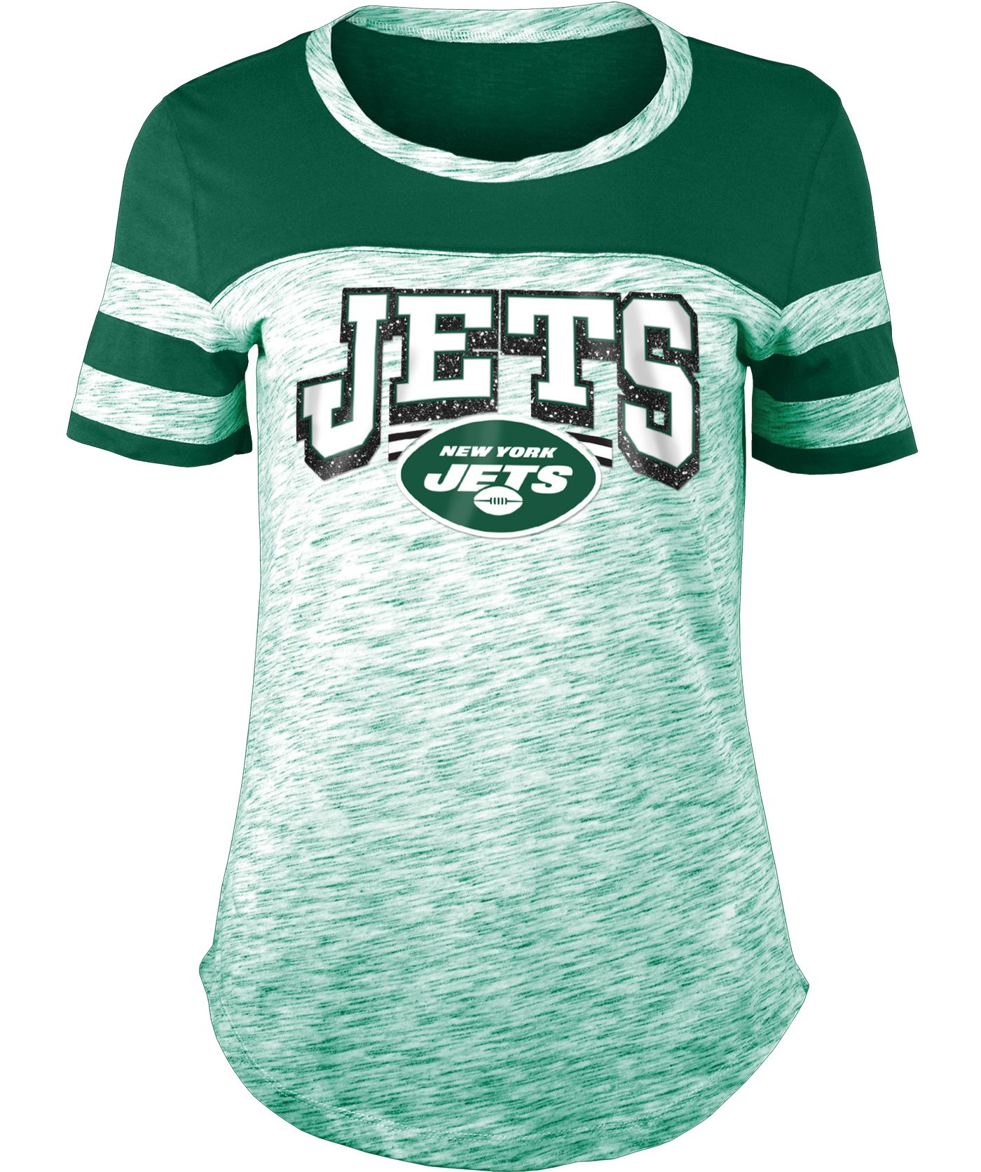 NFL Team Apparel Women's New York Jets Space Dye Glitter Green T-Shirt