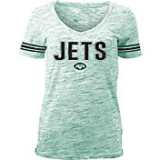 NFL Team Apparel Women's New York Jets Green Space Dye V-Neck T-Shirt
