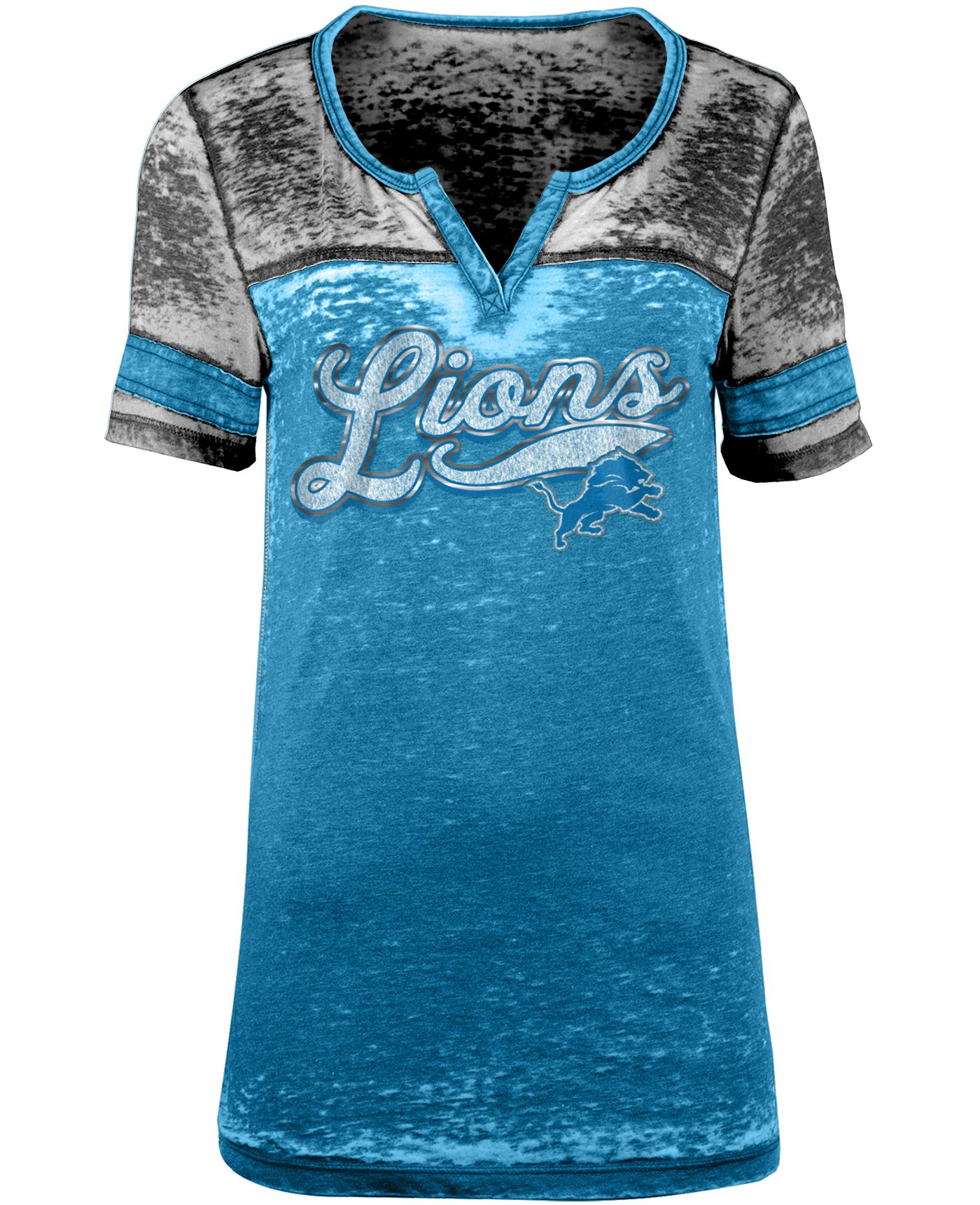 NFL Team Apparel Women's Detroit Lions Foil Burnout Blue T-Shirt