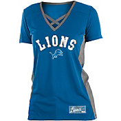 NFL Team Apparel Women's Detroit Lions Mesh X Blue T-Shirt