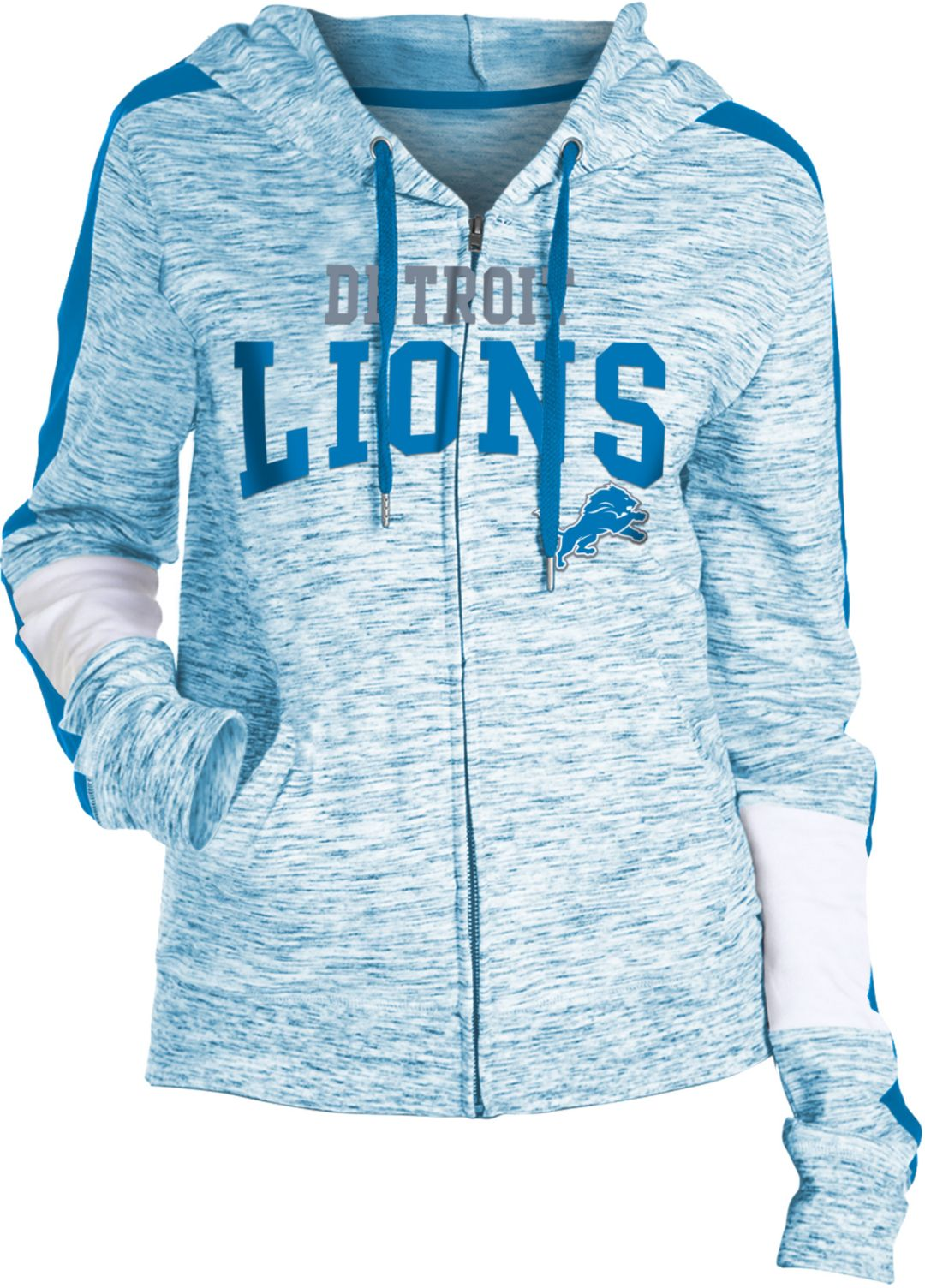 purchase cheap afea2 7f3e2 NFL Team Apparel Women's Detroit Lions Space Dye Full-Zip Hoodie