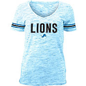 NFL Team Apparel Women's Detroit Lions Blue Space Dye V-Neck T-Shirt