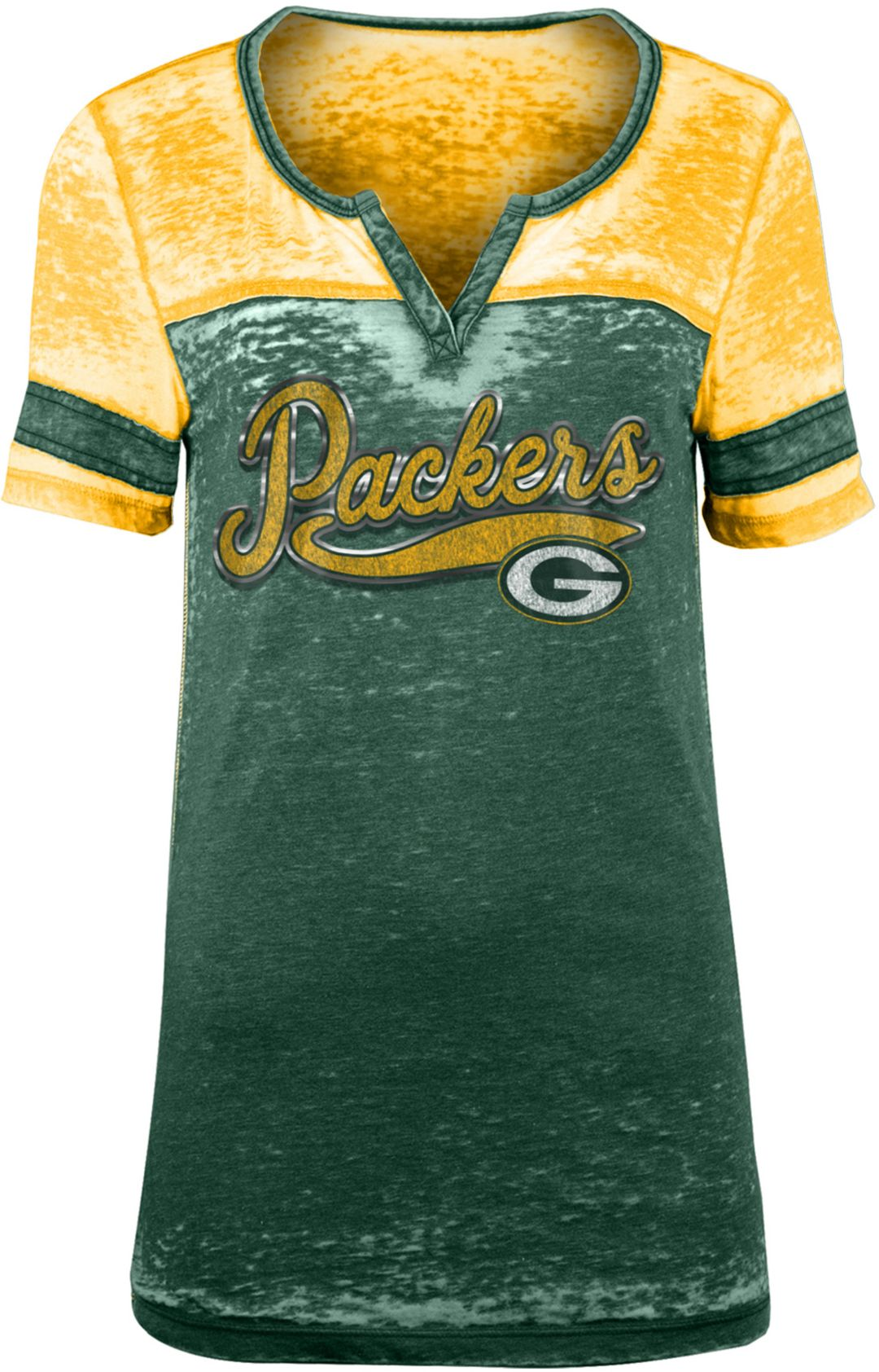 finest selection 4fabc e5c5a NFL Team Apparel Women's Green Bay Packers Foil Burnout Green T-Shirt