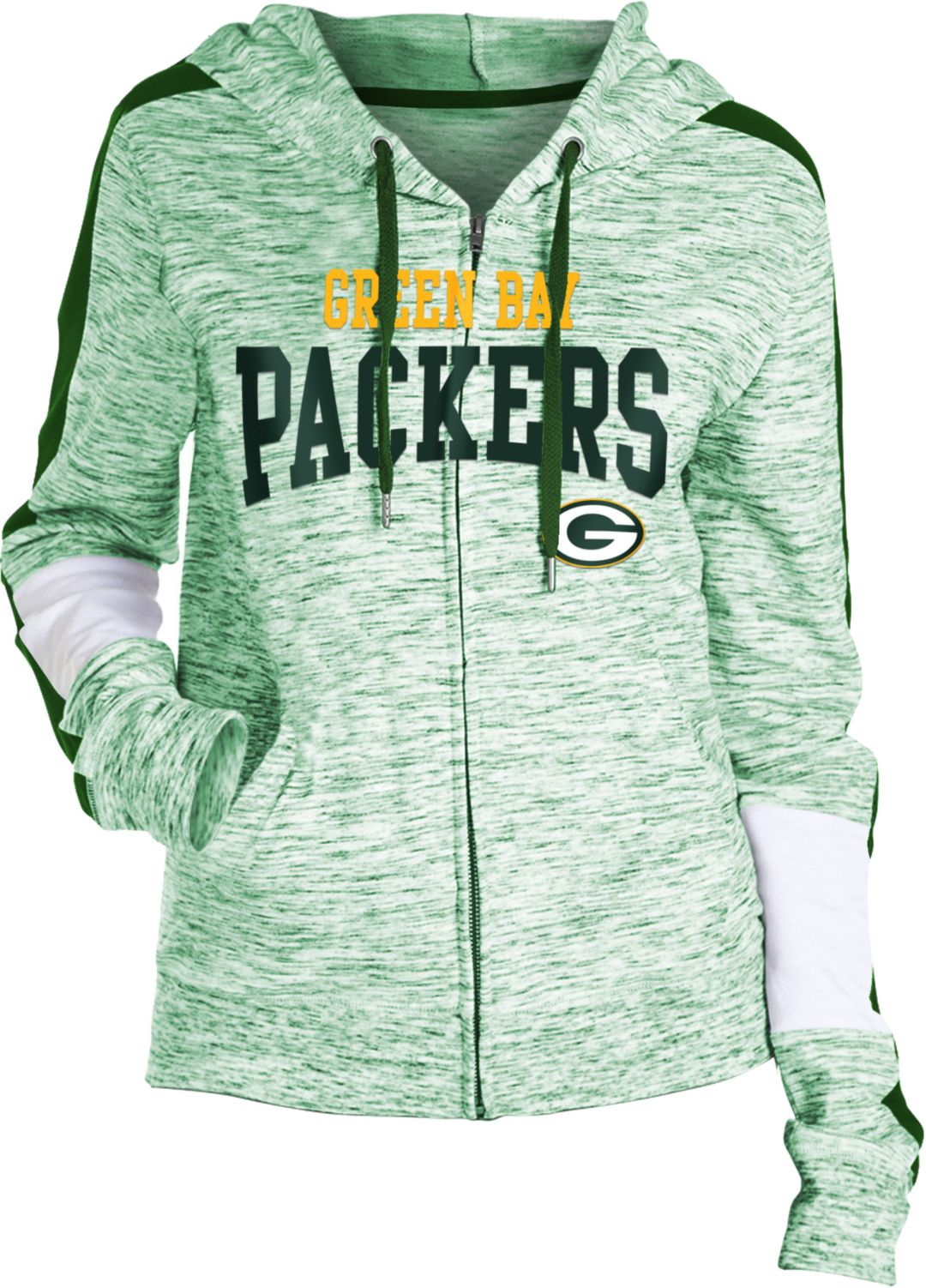 newest 086c7 8f9eb NFL Team Apparel Women's Green Bay Packers Space Dye Full-Zip Hoodie
