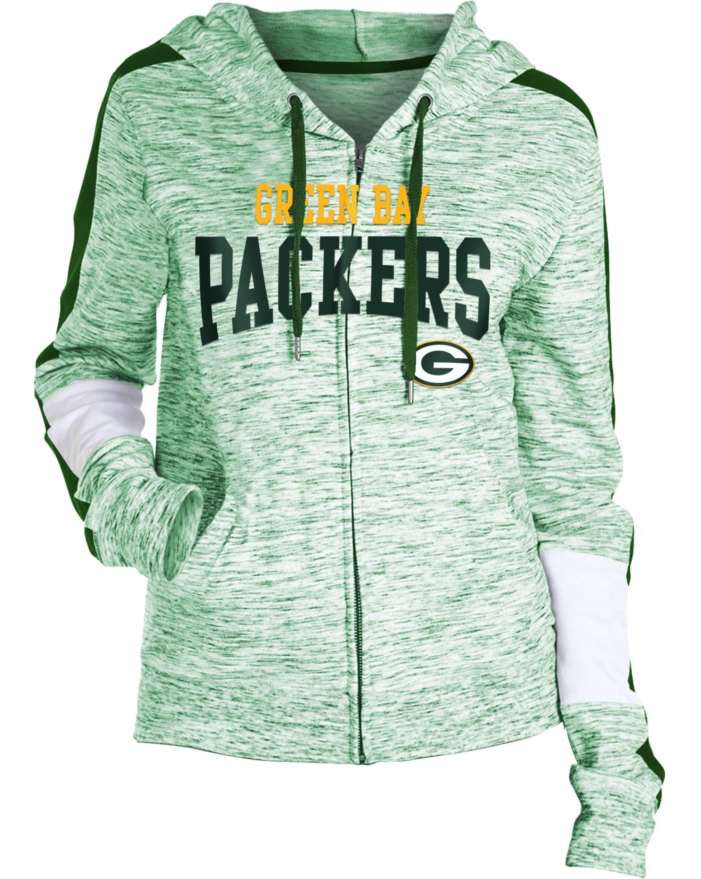 NFL Team Apparel Women's Green Bay Packers Space Dye Full-Zip Hoodie