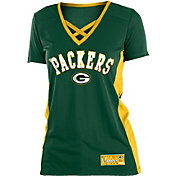 NFL Team Apparel Women's Green Bay Packers Mesh X Green T-Shirt