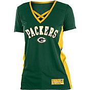 NFL Team Apparel Women's Green Bay Packers Mesh X Green T-Shirt
