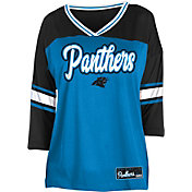 NFL Team Apparel Women's Carolina Panthers Mesh Raglan Top