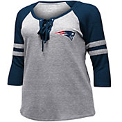 NFL Team Apparel Women's New England Patriots Trilace Grey Raglan Shirt