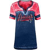 NFL Team Apparel Women's New England Patriots Foil Burnout Navy T-Shirt