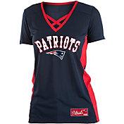 NFL Team Apparel Women's New England Patriots Mesh X Navy T-Shirt