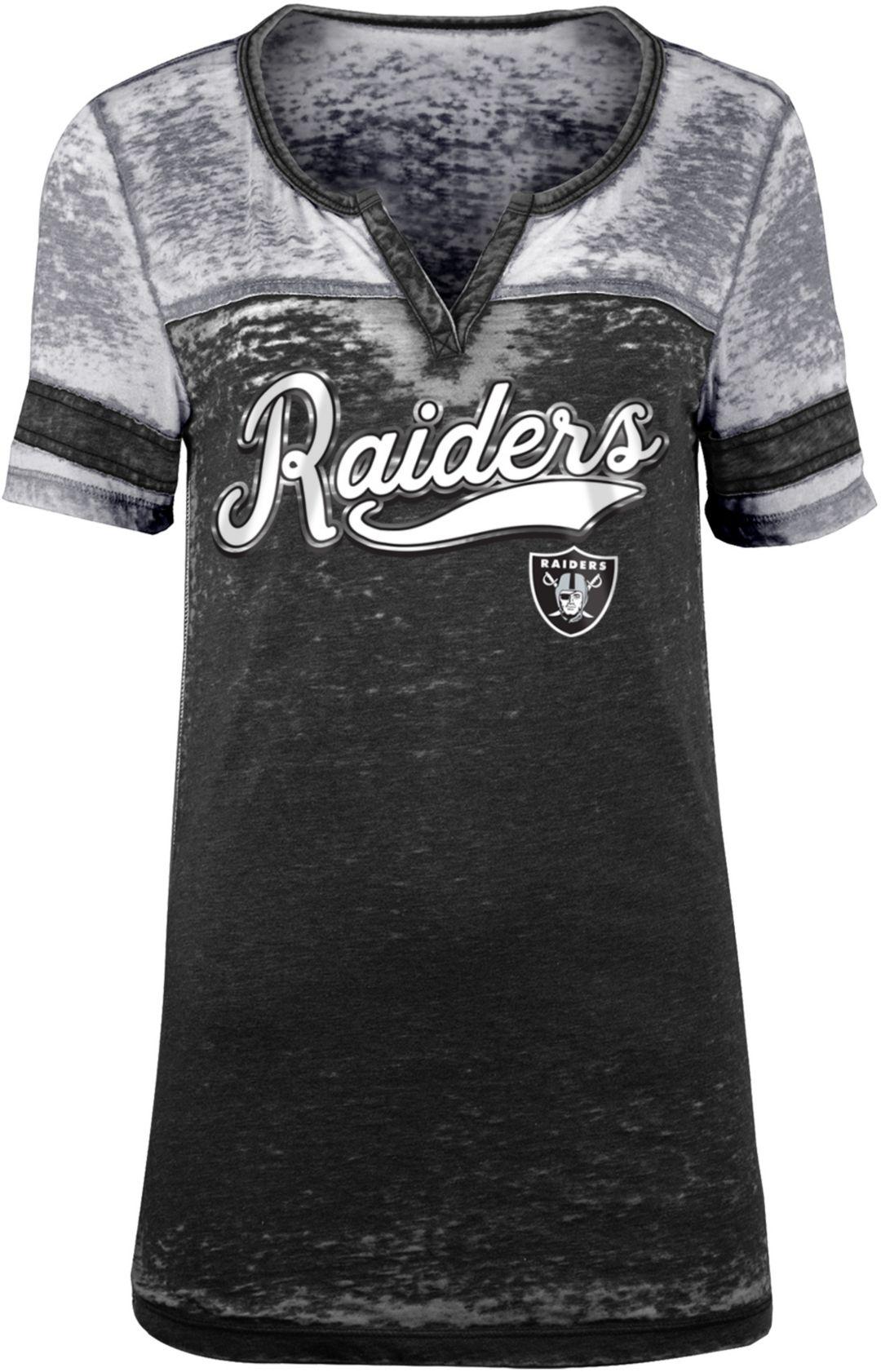 b7028f0a NFL Team Apparel Women's Oakland Raiders Foil Burnout Black T-Shirt