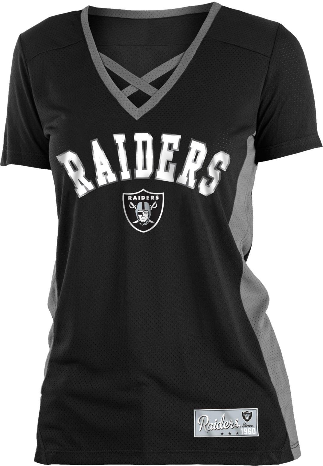 d313f49e NFL Team Apparel Women's Oakland Raiders Mesh X Black T-Shirt