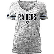 NFL Team Apparel Women's Black Space Dye Black V-Neck T-Shirt