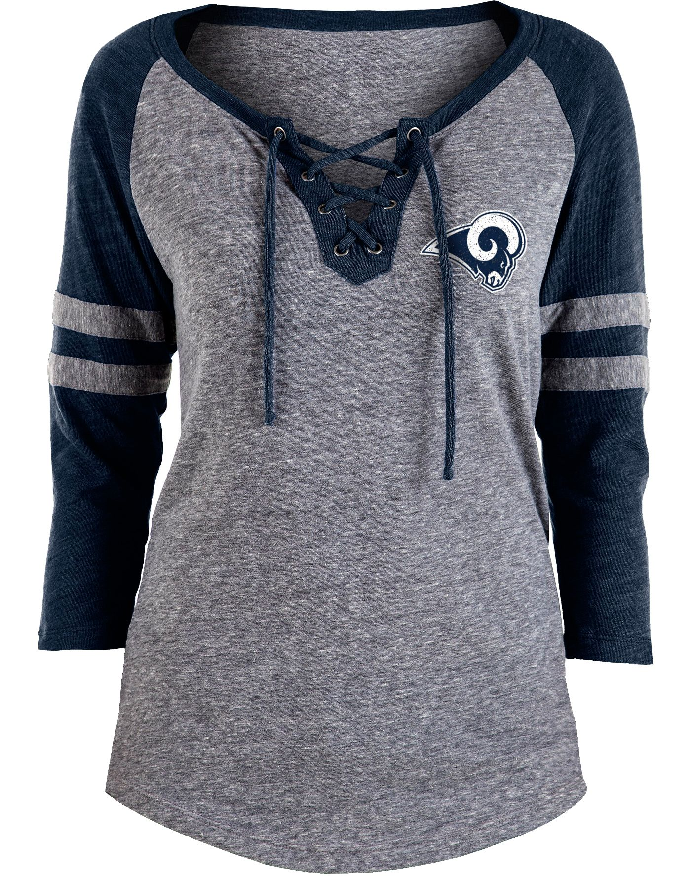 NFL Team Apparel Women's Los Angeles Rams Trilace Grey Raglan Shirt